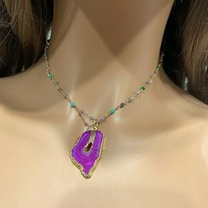 Monarch Blessings   Agate Stone Pendant Necklace